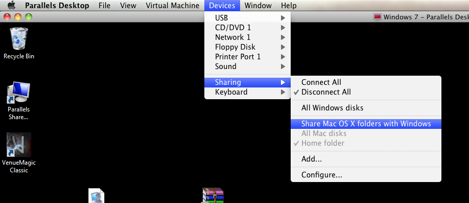 Disable Parallels Home Sharing for Venue Magic use on Mac